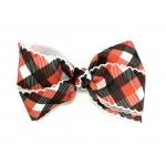 Black-Red Plaid / White Pico Stitch Bow - 5 inch