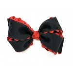 Black / Red Ric Rac Bow - 5 Inch