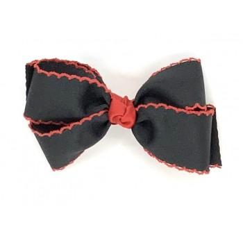 Black / Red Pico Stitch Bow - 5 Inch
