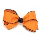 Orange / Dark Navy Pico Stitch Bow - 5 Inch
