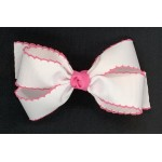 White / Hot Pink Pico Stitch Bow - 5 Inch