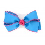 Blue (Turquoise) / Shocking Pink Pico Stitch Bow - 5 Inch