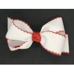 White / Red Pico Stitch Bow - 5 Inch