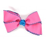 Pink (Hot Pink) / Turquoise Pico Stitch Bow - 5 Inch