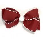 Red (Cranberry) / White Pico Stitch Bow - 5 Inch