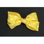 Yellow (Maize) Polka Dots Bow - 5 inch