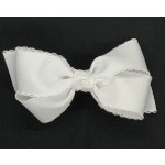 White / White Pico Stitch Bow - 5 Inch