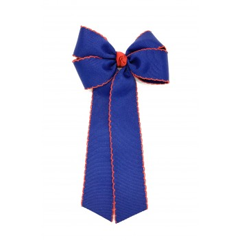 Blue (Light Navy) / Red Pico Stitch Bow - 5 inch With Tails