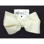 White ( Antique) Grosgrain Bow - 7 Inch