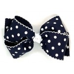 Blue (Dark Navy) Polka Dots Bow - 6 Inch