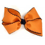 Orange / Dark Navy Pico Stitch Bow - 6 Inch