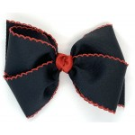 Black / Red Pico Stitch Bow - 6 Inch