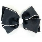 Black / White Pico Stitch Bow - 6 Inch