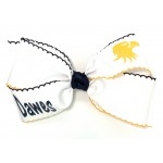 Dawes (White) / Navy-Yellow Gold Pico Stitch Bow - 7 Inch