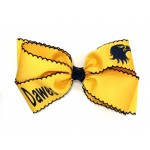 Dawes (Yellow Gold) / Navy Pico Stitch Bow - 7 Inch