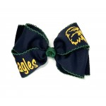 Dodge (Navy) / Forest Green Pico Stitch Bow - 6 Inch